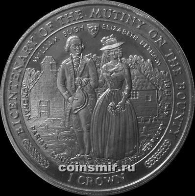 """1 крона 1989 остров Мэн. 200 лет мятежу на """"Баунти"""". Уильям Блай и Елизавета Бетам."""