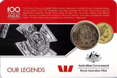 25 центов 2016 Австралия. 100 лет АНЗАК — Крест Виктории.