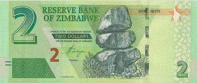 2 доллара 2016 Зимбабве.