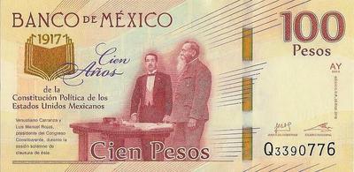 100 песо 2016 (2017) Мексика. 100 лет Конституции.
