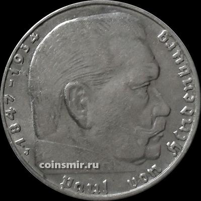 2 марки 1939 J Германия. Гинденбург. Третий Рейх.