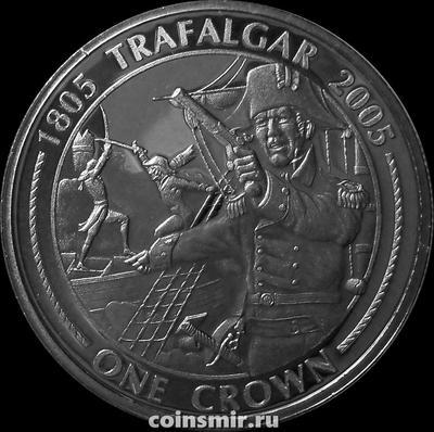 1 крона 2005 Гибралтар. 200 лет Трафальгарскому сражению. Адмирал Нельсон.