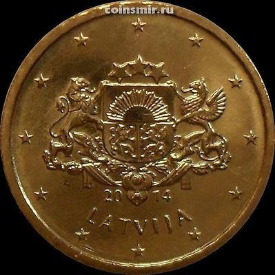 10 евроцентов 2014 Латвия. Герб Латвии.