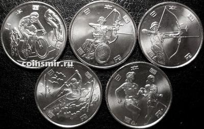 Набор из 5 монет 2019 Япония. Летняя олимпиада и паралимпиада в Токио 2020.