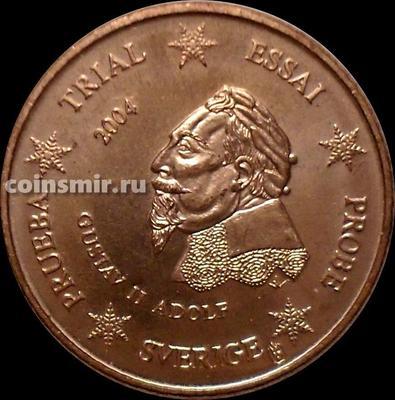 1 евроцент 2004 Швеция. Европроба. Specimen. Король Густав II Адольф.