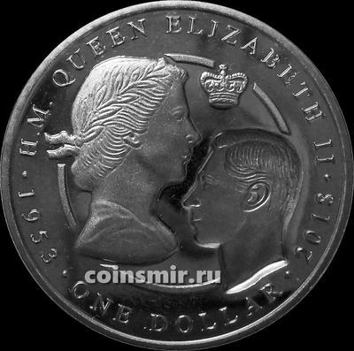 1 доллар 2018 Британские Виргинские острова. Сапфировый юбилей коронации Елизаветы II 1953–2018.