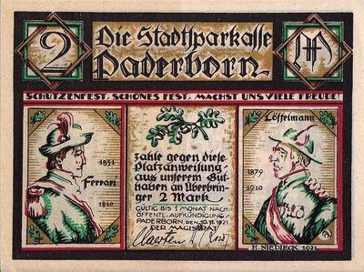 2 марки 1921 Германия г.Падерборн (Рейн-Вестфалия). Нотгельд.