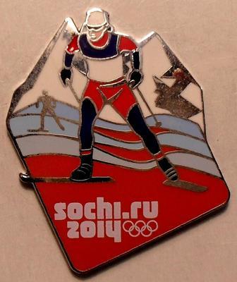 Значок Лыжные гонки. Олимпиада в Сочи 2014.