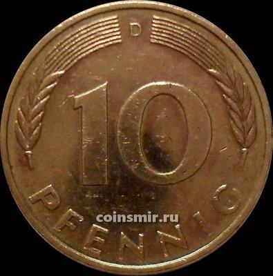 10 пфеннигов 1992 D Германия ФРГ.
