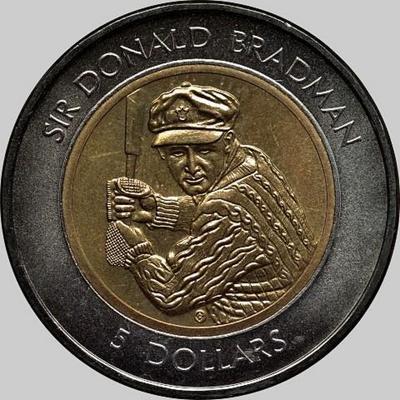 5 долларов 1996 Австралия. Сэр Дональд Брэдман.