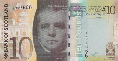 10 фунтов 2009 Шотландия. Вальтер Скотт.