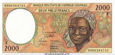 2000 франков 1993-2000 F КФА BEAC (Центральная Африка).