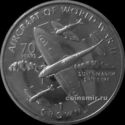1 крона 2006 остров Мэн. Самолеты Второй мировой войны - Supermarine Spitfire.