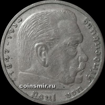 5 марок 1939 В Германия. Гинденбург.