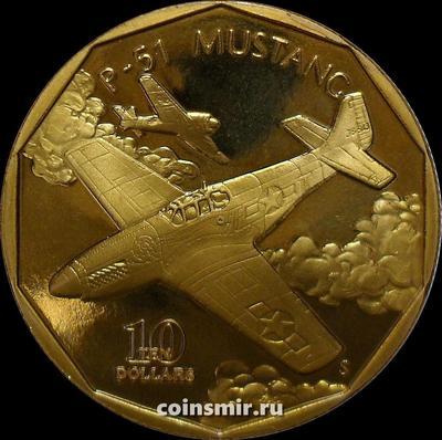10 долларов 1991 Маршалловы острова. Истребитель США P-51 Mustang.