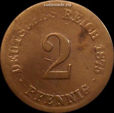 2 пфеннига 1875 Германия. Не читается монетный двор.