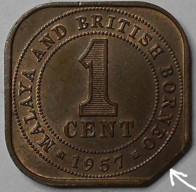 1 цент 1957 Малайя и Британское Борнео. Брак. Выкус.