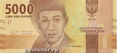 5000 рупий 2016 Индонезия.