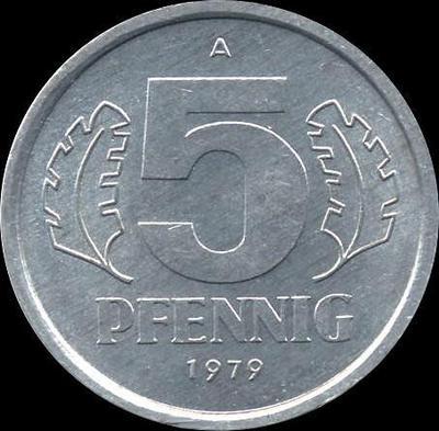 5 пфеннигов 1979 A ГДР. VF