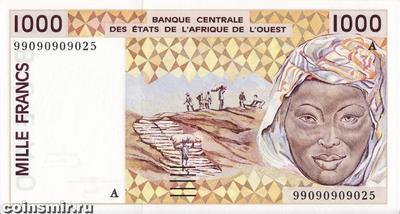 1000 франков 1999 А КФА ВСЕАО. (Западная Африка)