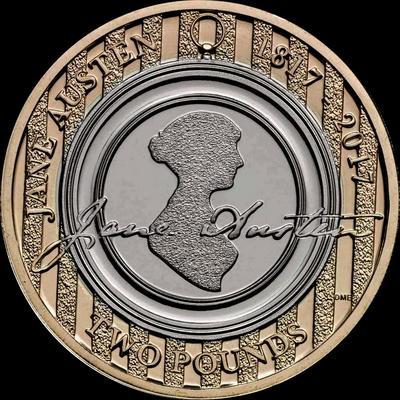 2 фунта 2017 Великобритания. Джейн Остин.