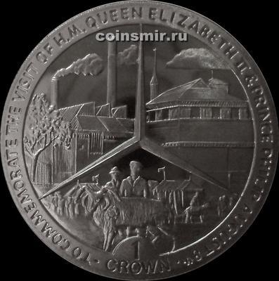 1 крона 1989 остров Мэн. Визит королевы Елизаветы II и принца Филиппа.