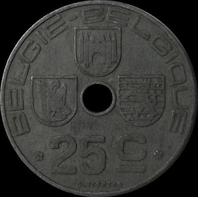 25 сантимов 1943 Бельгия.  BELGIE-BELGIQUE.