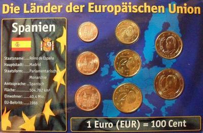 Набор евро монет  Испания. Блистер.