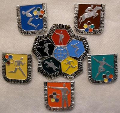 Набор из 6 значков Современное пятиборье.