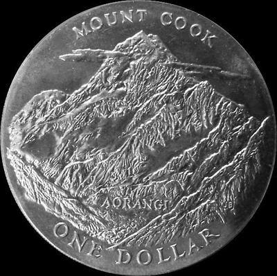 1 доллар 1970 Новая Зеландия. Гора Кука.