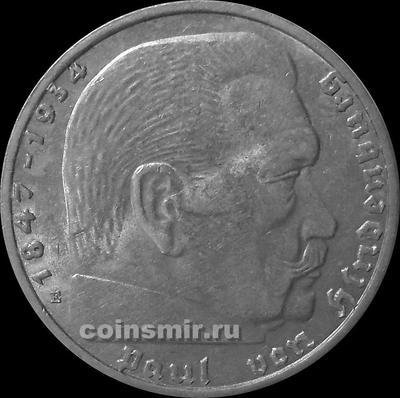 2 марки 1938 Е Германия. Гинденбург. Третий Рейх.