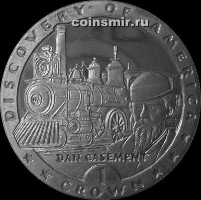 1 крона 1992 остров Мэн. Открытие Америки. Дэн Кейсмент.