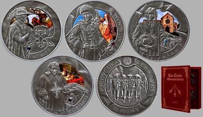 Набор из 4 монет 2009 Беларусь. Три мушкетёра.