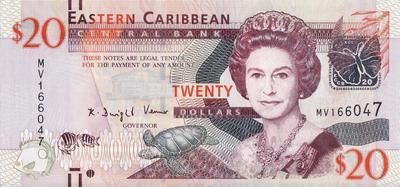 20 долларов 2012 Восточные Карибы.
