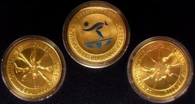Набор из 3 монет 2002 Австралия. XVII Игры Содружества в Манчестере. Футляр.