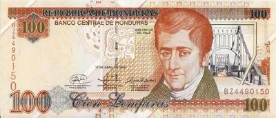 100 лемпиров 2008 Гондурас.