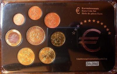Набор евро монет 2000,2002,2005 Финляндия. Пластик.
