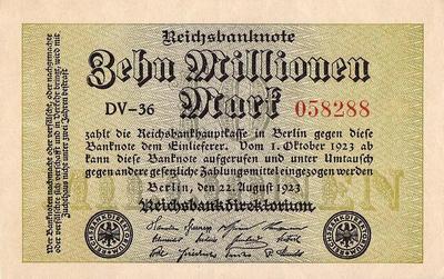 10 миллионов марок 1923 Германия.