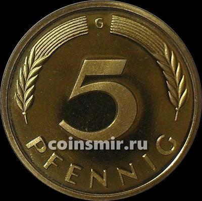 5 пфеннигов 1975 G Германия (ФРГ).  Пруф.