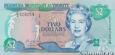 2 доллара 2000 Бермудские острова.