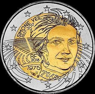 2 евро 2018 Франция. Симона Вейль.