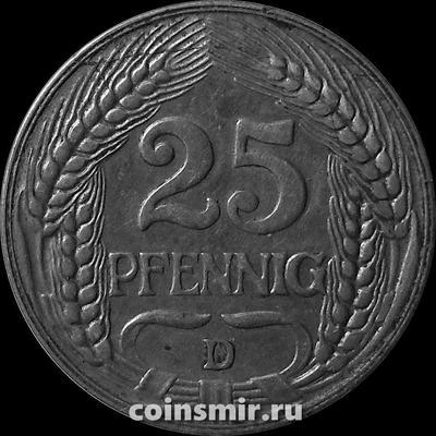 25 пфеннигов 1909 D Германия.