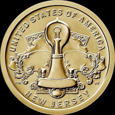1 доллар 2019 Р США. Американские инновации. Лампа накаливания Томаса Эдисона.