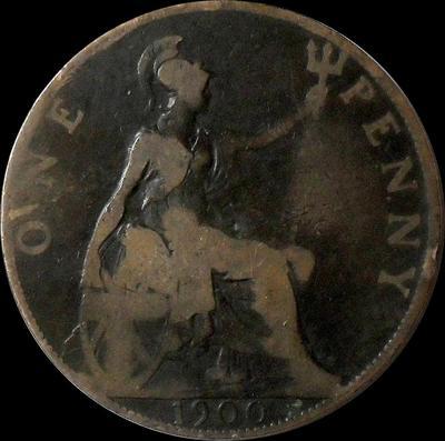 1 пенни 1900 Великобритания.
