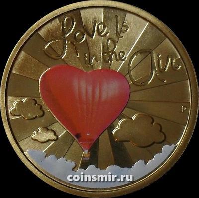 1 доллар 2015 Тувалу. Любовь витает в воздухе.