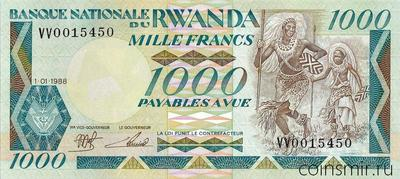 1000 франков 1988 Руанда.