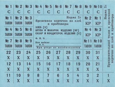 Карточки на хлеб и продтовары Норма 2 с.