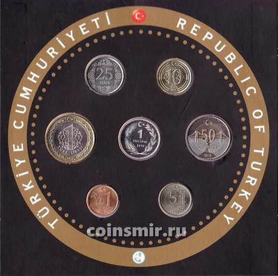 Набор из 6 монет и жетона 2018 Турция. Буклет.
