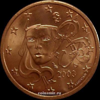 5 евроцентов 2003 Франция. Олицетворение республики Марианна.