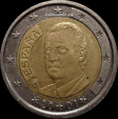 2 евро 2001 Испания. Король Хуан Карлос I.